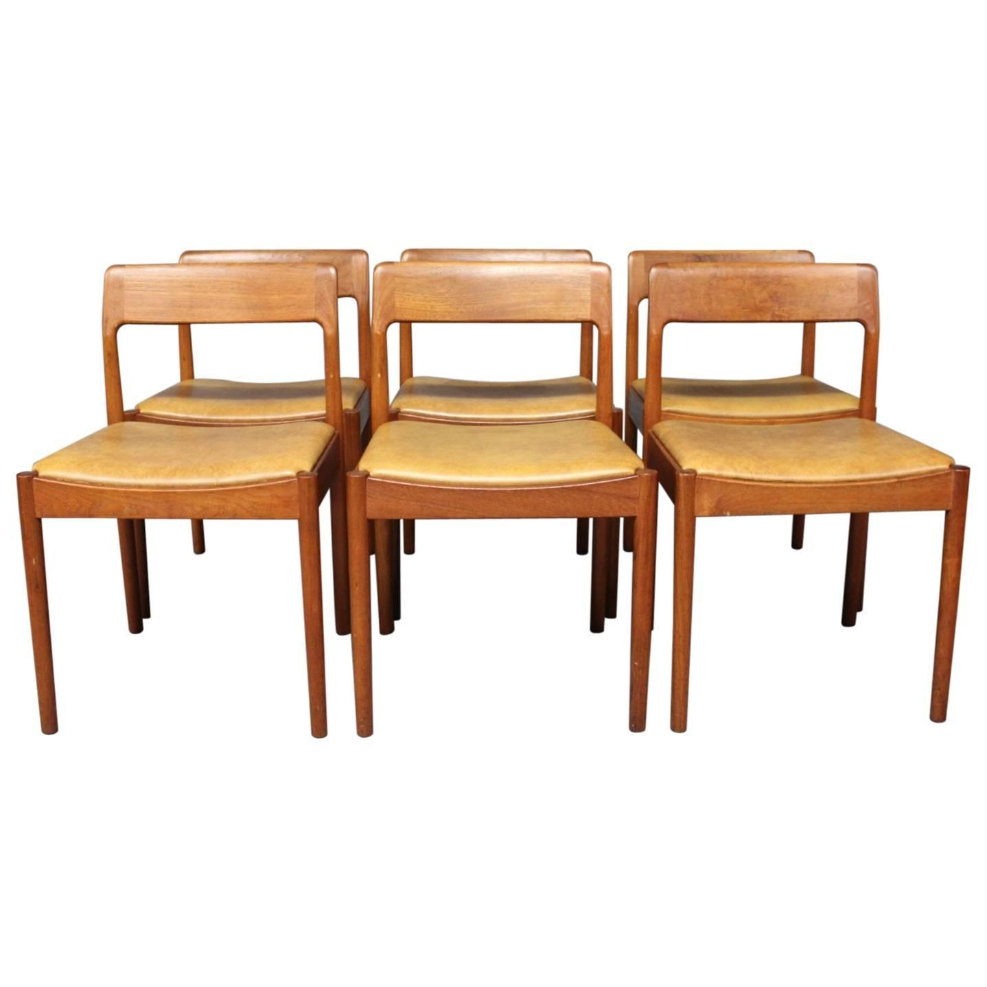 set of six dining room chairs in teak by n o m ller