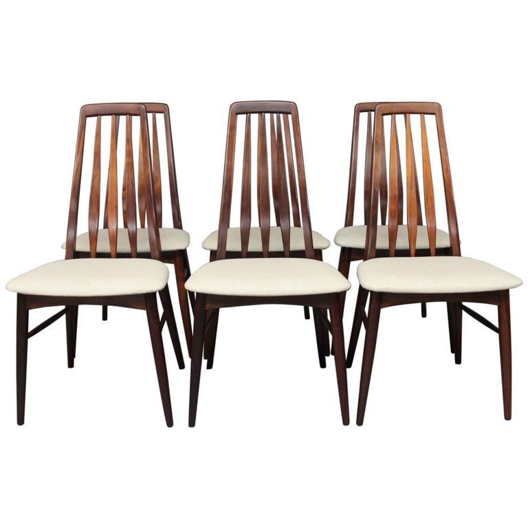 "Set Of Six ""Eva"" Dining Room Chairs By Niels Koefoed"