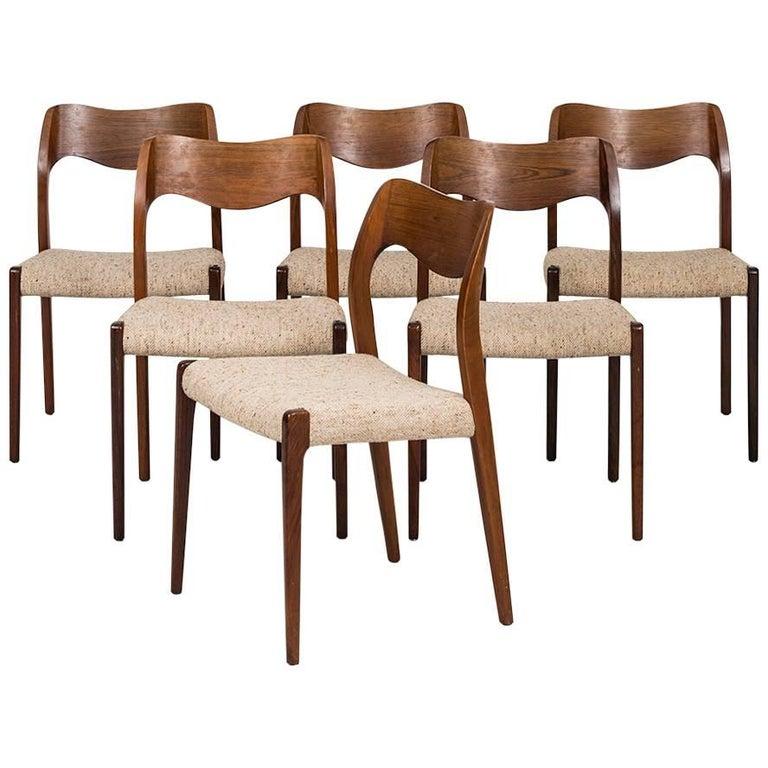 Niels O. Møller Dining Chairs Model 71 by J.L Møllers Møbelfabrik in Denmark