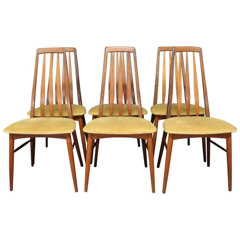 "Set of Six ""Eva"" Dining Room Chairs by Niels Koefoed, 1960s"