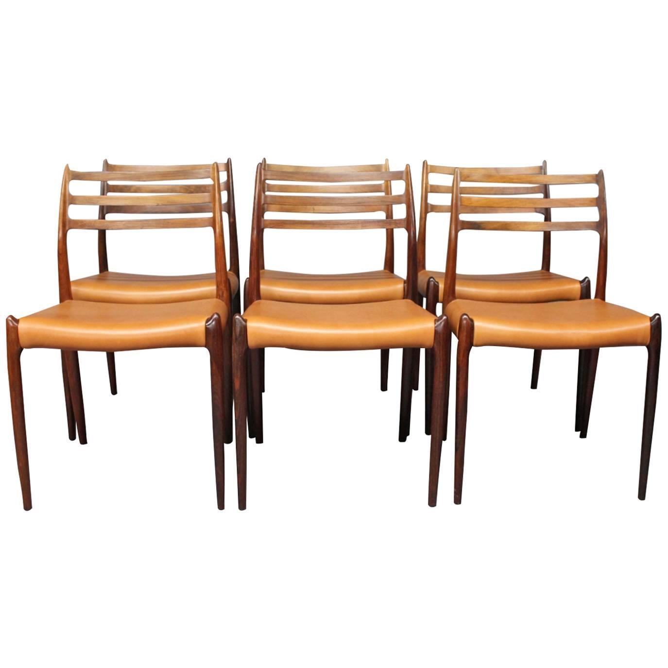 Set of six dining room chairs model 78 by n o moeller for 1970 dining room set