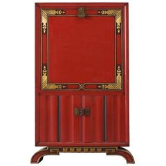 Charles Van Beerleire Red Bar Cabinet