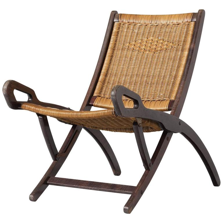 Gio Ponti Rare Nifea Folding Chair with Woven Cane Seating and Back