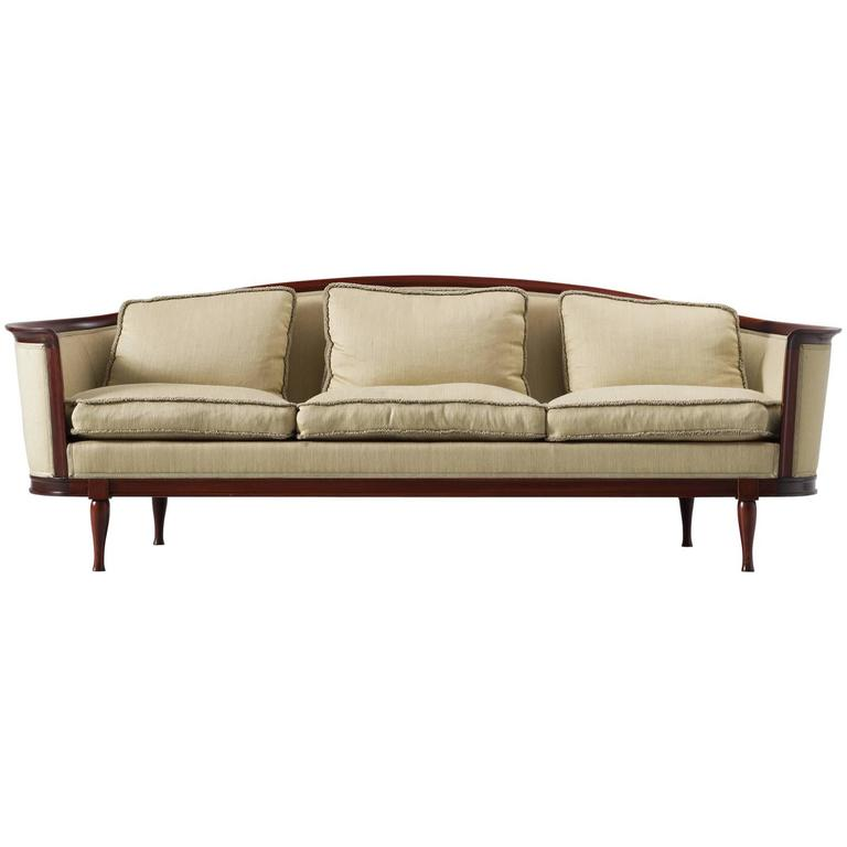 Scandinavian Sofa In Mahogany And Fabric Upholstery