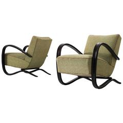 Jindrich Halabala Pair of Armchairs in Original Fabric Upholstery
