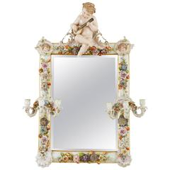Meissen Porcelain Antique Mirror with Candleholders
