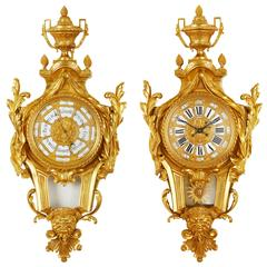 Neoclassical Style Cartel Clock and Barometer Set by Lerolle Frères
