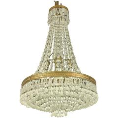 Small Crystal Chandelier with Murano Glass Drops, Early 20th Century