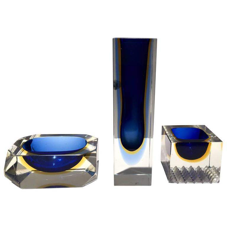 Set of Flavio Poli Murano Glass Centerpieces Vase, Ashtray and Soap Dish