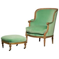Large French Bergere Chair in Louis XVI Style with Matching Footstool