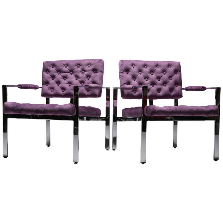 Milo Baughman chrome frame lounge chairs, Thayer Coggin.