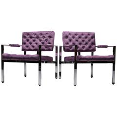 Milo Baughman chrome frame lounge chairs, Thayer Coggin.
