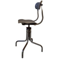 Tan-Sad Chair Co. 1930s Industrial Metal Height Adjustable Sewing Stool