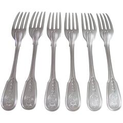 Exceptional Set of Six George III Fiddle & Thread Table Forks