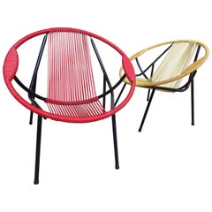 Mid-Century Modern 1960s Extremely Sought After Spaghetti Set of Chairs