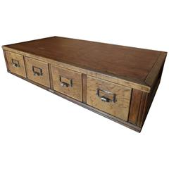 English Large Set of Air Ministry Vintage Oak Drawer Unit, circa 1943