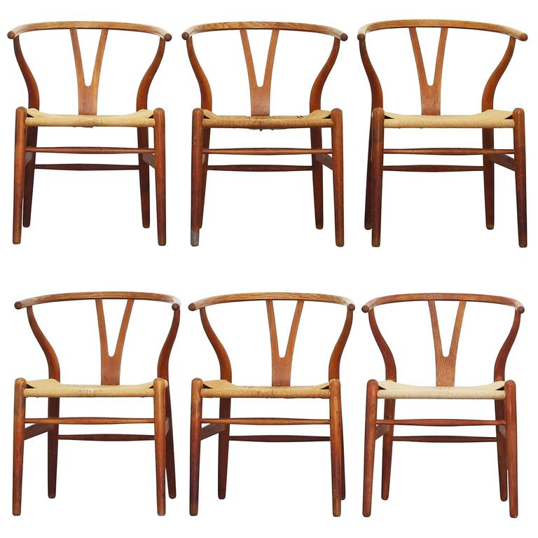 Set of Six Old Dining Wishbone Chairs by Hans J. Wegner for Carl Hansen Oak