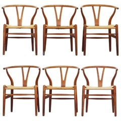 Set of Six Old Dining Wishbone Chairs by Hans J. Wegner for Carl Hansen Oak