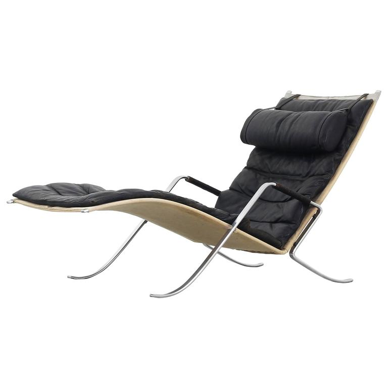 Original Grasshopper Chaise Lounge by Fabricius Kastholm for Kill International