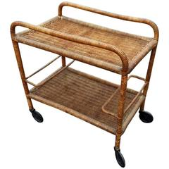 Attrtibuted to Jacques Adnet, Art Deco Trolley in Rattan