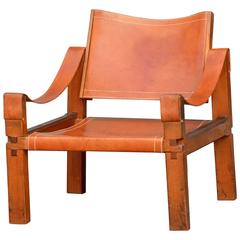 Cognac Leather S10 Armchair by Pierre Chapo, circa 1960