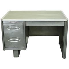 Vintage Industrial 1950s Polished Steel Desk