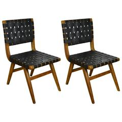 Vintage Pair of Walnut and Leather Webbed Side Chairs