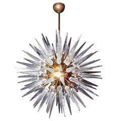 Very Huge and Impressive Murano Glass and Brass Chandelier Style of Stilnovo