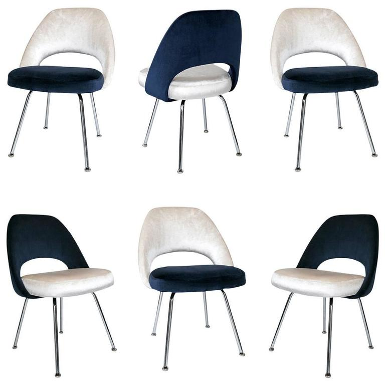 Saarinen executive armless chairs in ivory navy velvet for Saarinen executive armless chair