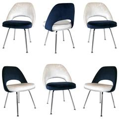 Saarinen Executive Armless Chairs in Ivory/Navy Velvet, Set of Six