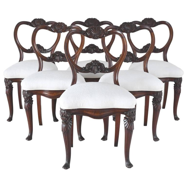 Set of six flemish dining chairs with carved balloon back for Upholstered dining chairs for sale
