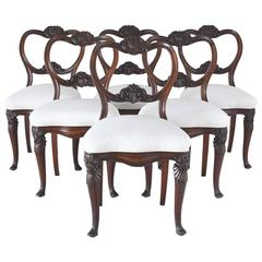 Set of Six Flemish Dining Chairs with Carved Balloon-Back and Upholstered Seat