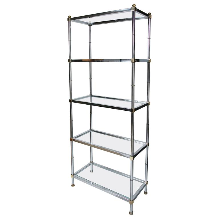Maison jensen style brass and chrome etagere for sale at 1stdibs - Etagere faite maison ...