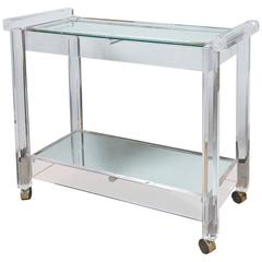 Vintage French Lucite Bar Cart with Antique Mirror Tiers