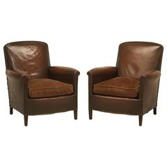 French Leather Club Chairs in Original Leather