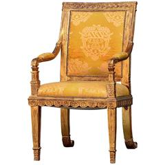 French King Throne Gold Leaf Chair Ornate, circa 1960
