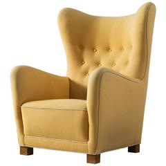 Early Fritz Hansen Wingback Chair in Yellow Upholstery