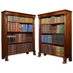 Pair of French Empire Mahogany Open Bookcases