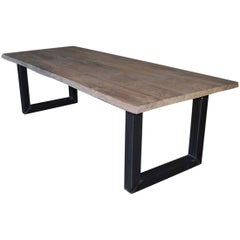 Contemporary Oakwood Tree-Trunk Table, Handcrafted