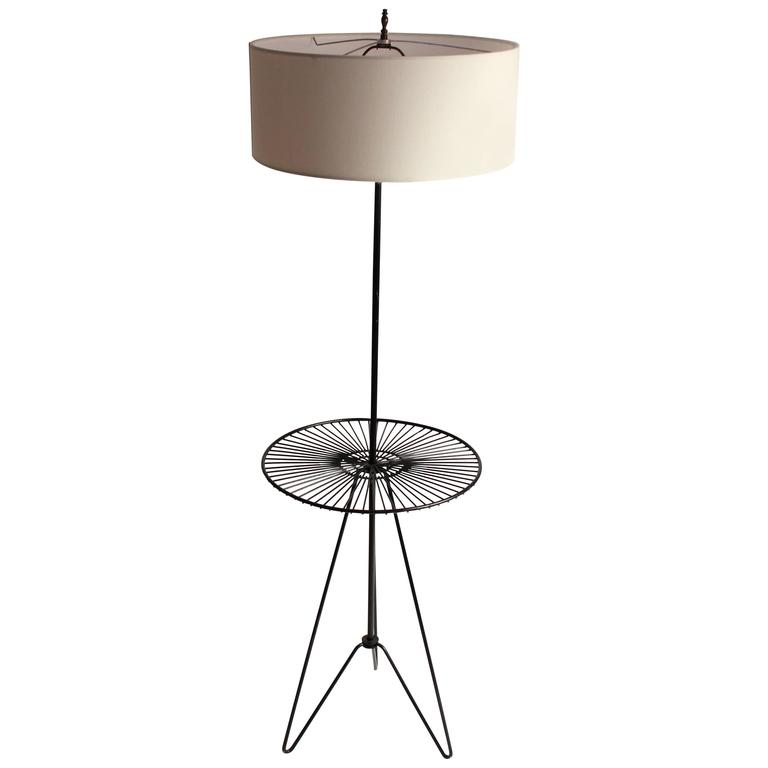 Wire Floor Table Lamp In The Style Of Tony Paul Mid Century