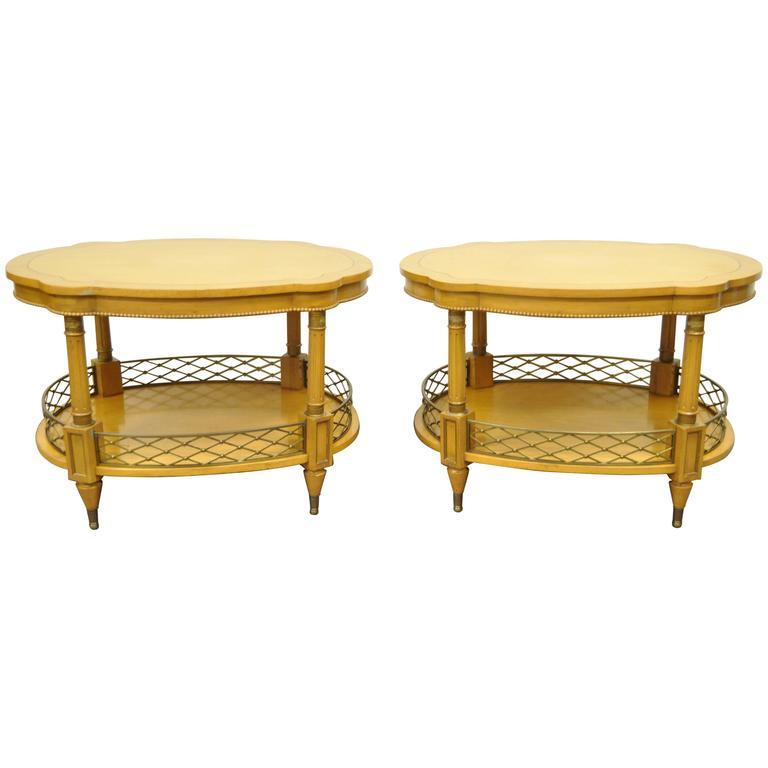 Pair of 1960s Custom Regency Style Oversized End or Lamp Tables