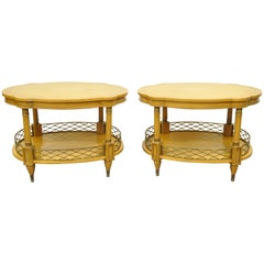 Pair of Custom French Regency Style Oversize Turtle Top Two Tier Lamp End Tables