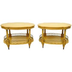 Pair of 1960s Custom Regency Style Oversized End or Lamp Tables