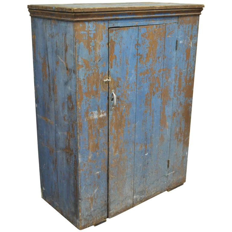 Antique Blue Distress Painted PA Rustic Primitive Jelly Cupboard Kitchen  Cabinet For Sale - Antique Blue Distress Painted PA Rustic Primitive Jelly Cupboard