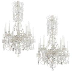 Unique Pair of 19th Century Cut-Glass English Chandelier