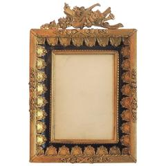 Wonderful French Doré Bronze Blue Enamel Neoclassical Musical Picture Frame