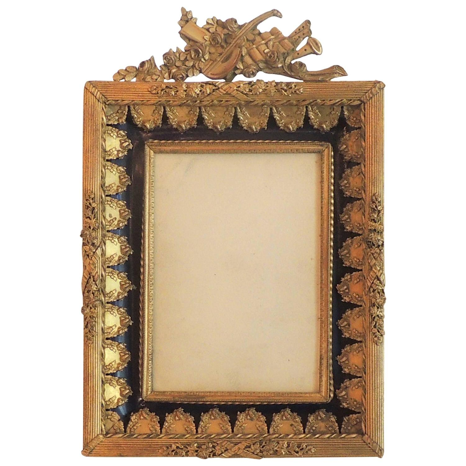 1930s picture frames 69 for sale at 1stdibs wonderful french dor bronze blue enamel neoclassical musical picture frame jeuxipadfo Choice Image