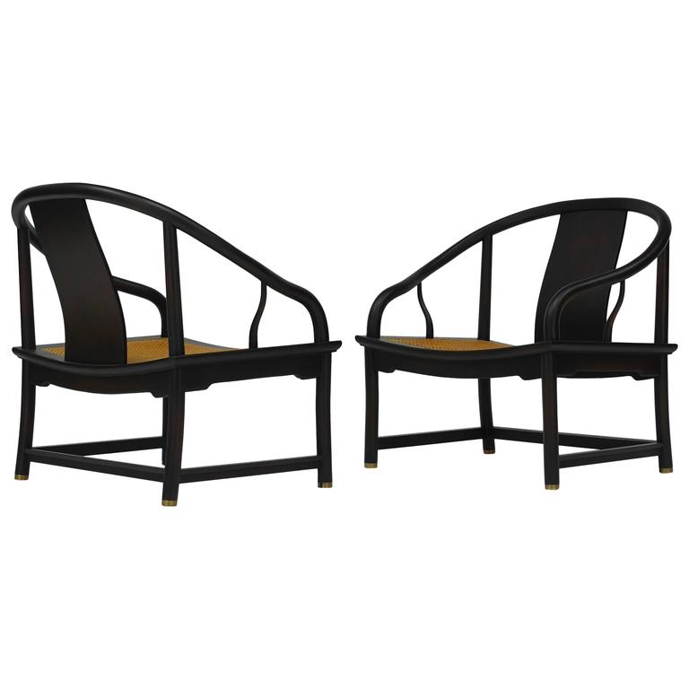 Pair of Baker Far East Collection Lounge Chairs