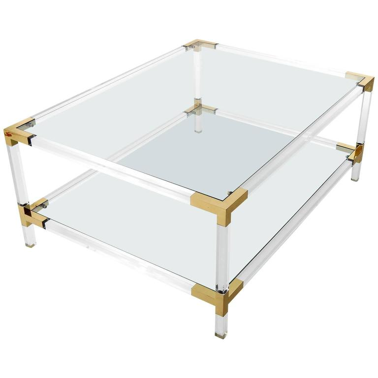 Large coffee table lucite and brass italy 1970 for sale for Lucite and brass coffee table
