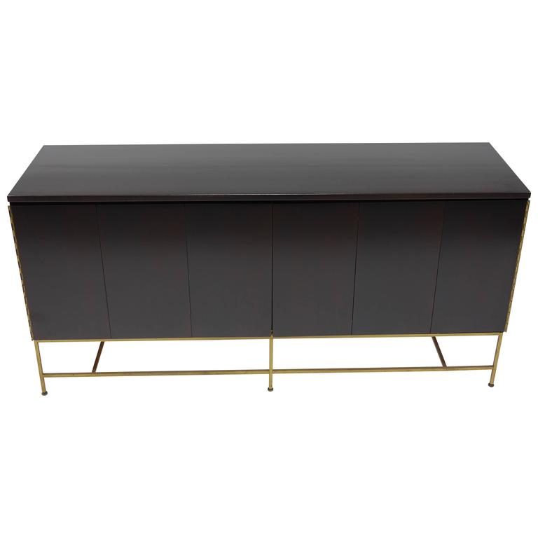 Mahogany and Brass Credenza by Paul McCobb for the Calvin Group